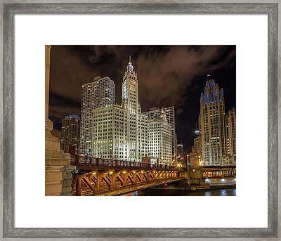 Wrigley Building At Night Framed Print by Mike Burgquist