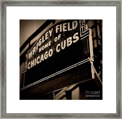 Wrigley Field Chicago Cubs - Antiqued Series - No Border Framed Print