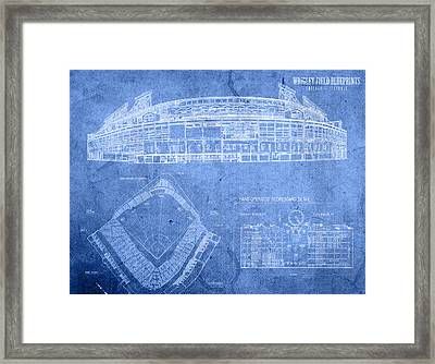 Wrigley Field Chicago Illinois Baseball Stadium Blueprints Framed Print