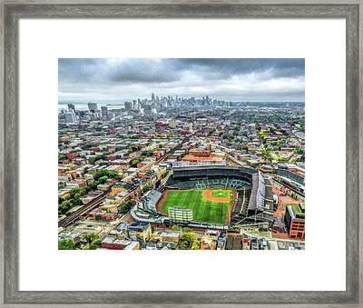 Wrigley Field Chicago Skyline Framed Print