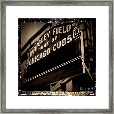 Wrigley Field Home Of Chicago Cubs - Antiqued Series Framed Print