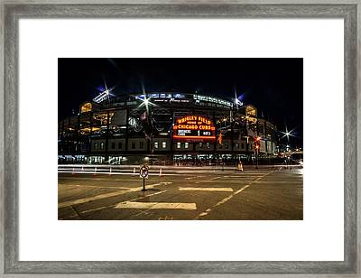 Wrigley Field Marquee At Night Framed Print
