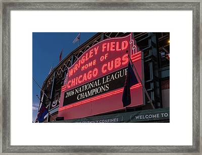 Wrigley Field Marquee Cubs National League Champs 2016 Framed Print by Steve Gadomski