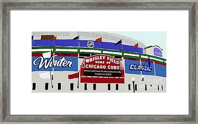 Wrigley Field Framed Print by Priscilla Wolfe