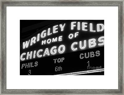 Wrigley Field Sign Black And White Picture Framed Print