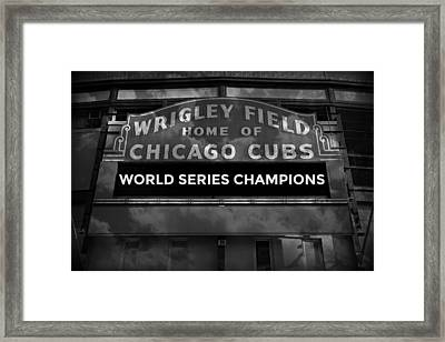 Wrigley Field Sign -- Bw Framed Print by Stephen Stookey