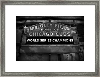 Wrigley Field Sign -- Bw Framed Print