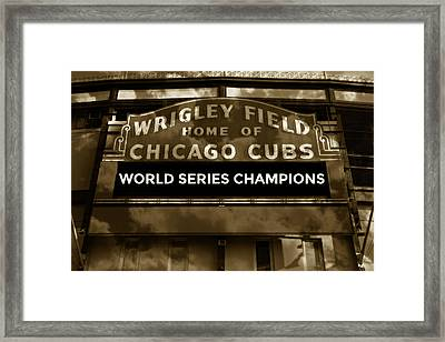 Wrigley Field Sign - Vintage Framed Print by Stephen Stookey