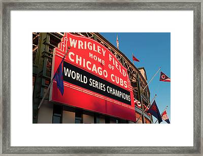 Wrigley Field World Series Marquee Angle Framed Print