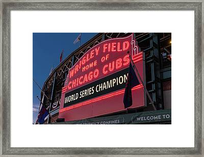 Wrigley Field World Series Marquee Framed Print by Steve Gadomski