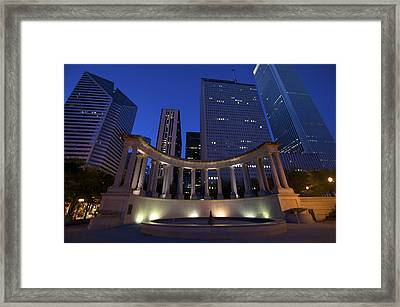 Wrigley Square At Night Framed Print