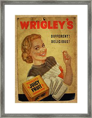 Wrigleys Juicy Fruit Chewing Gum Vintage Ad Poster Framed Print by Design Turnpike