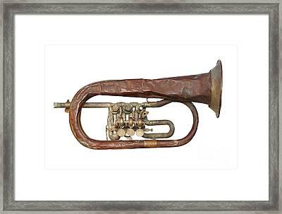 Wrinkled Old Trumpet Framed Print by Michal Boubin