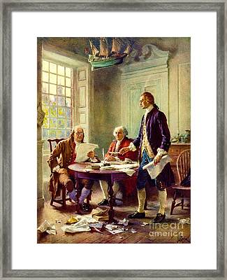 Writing Declaration Of Independence Framed Print by Pg Reproductions