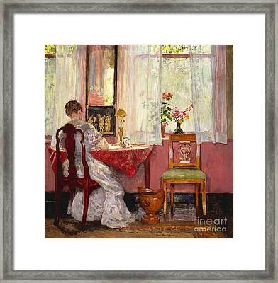 Writing Framed Print by Gari Melchers