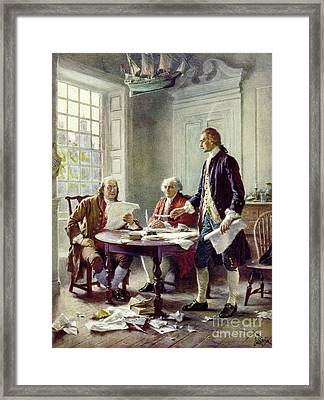 Writing The Declaration Of Independance Framed Print
