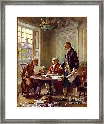 Writing The Declaration Of Independence, 1776, Framed Print by Leon Gerome Ferris