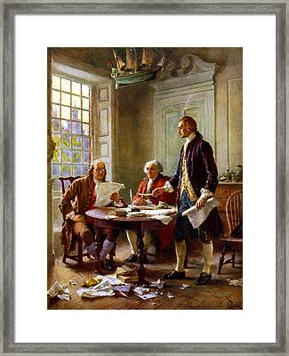 Writing The Declaration Of Independence Framed Print by War Is Hell Store