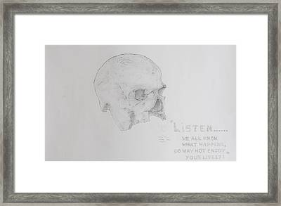 Written In Bone Framed Print by Contemporary Michael Angelo