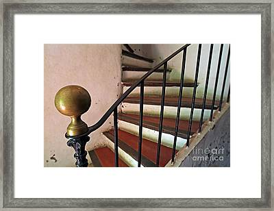 Wrought Iron Handrail Of An Old Staircase Framed Print by Sami Sarkis