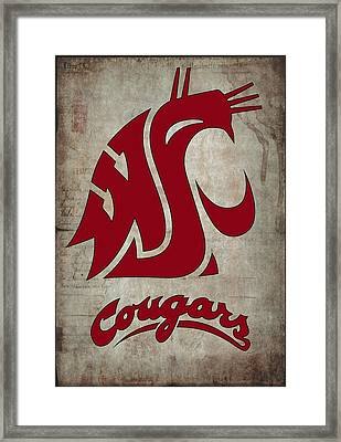 W S U Cougars Framed Print by Daniel Hagerman