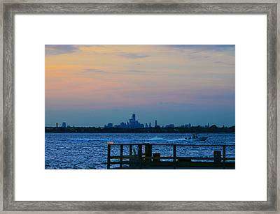 Wtc Over Jamaica Bay From Rockaway Point Pier Framed Print