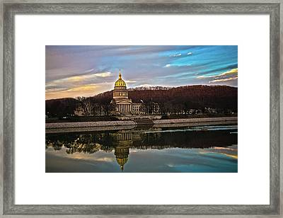 Wv State Capitol At Dusk Framed Print