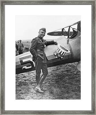 Ww1 Flying Ace Eddie Rickenbacker Somewhere In France Circa 1918 Framed Print
