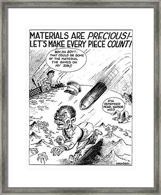 Ww2 Material Conservation Cartoon Framed Print by War Is Hell Store