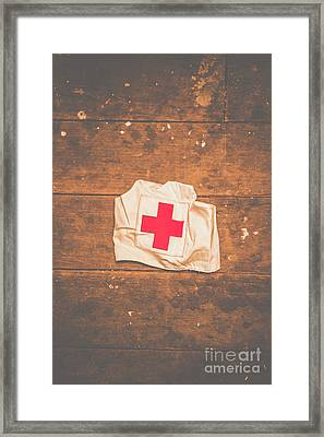 Ww2 Nurse Cap Lying On Wooden Floor Framed Print
