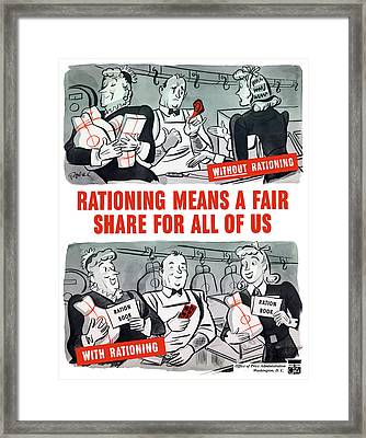 Ww2 Rationing Cartoon Framed Print