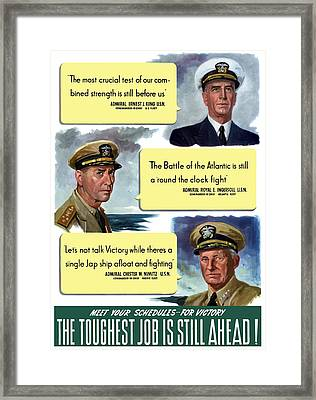 Ww2 Us Navy Admirals Framed Print by War Is Hell Store