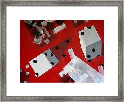 Wwhite Dice With Runaway Dots Framed Print by Evguenia Men