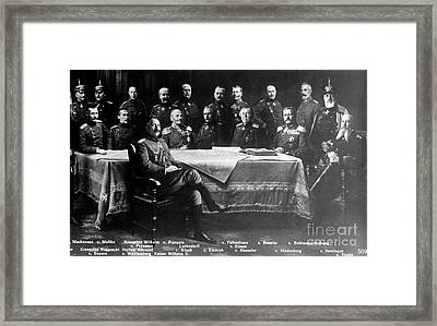Wwi, Kaiser Wilhelm II With Generals Framed Print