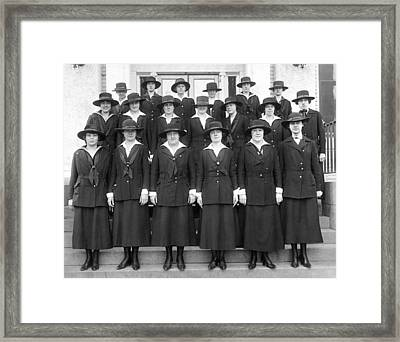 Wwi Navy Women Yeoman Framed Print by Underwood Archives