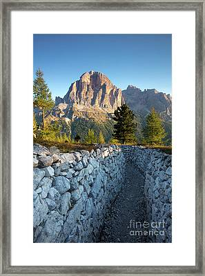 Wwi Trenches - Dolomites Framed Print by Brian Jannsen
