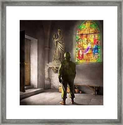 Wwii - A Prayer For Courage 1940 Framed Print by Mike Savad