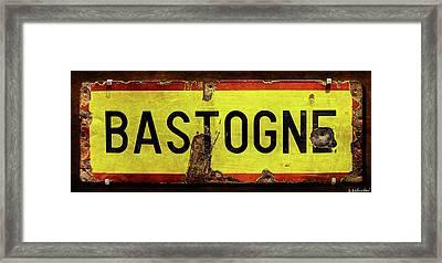 Wwii Bastogne Town Sign Framed Print