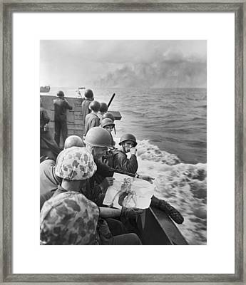 Wwii Marines In South Pacific Framed Print