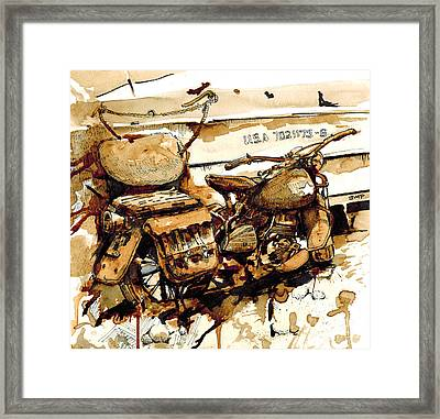 Wwii Motorcycle Normandy - Coffee Watercolor Framed Print by Jonathan Patterson