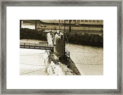 Wwii Submarine At Queen Mary Framed Print