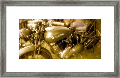 Wwii Triumph Despatch Rider Motorcycle Framed Print