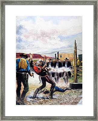 Wyatt Earp And The Battle Of The Ok Corral Framed Print by English School
