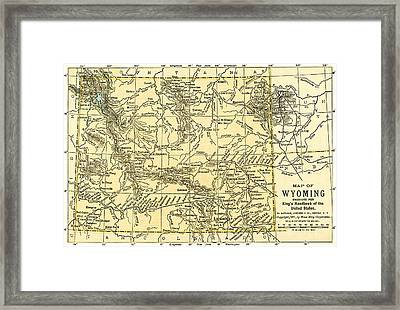 Wyoming Antique Map 1891 Framed Print
