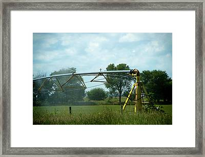Wyoming August Farming Irrigation Framed Print by Thomas Woolworth