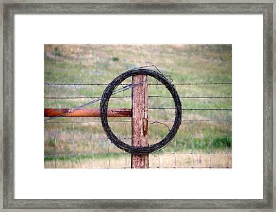 Wyoming Barb Wire On The Ranch Framed Print by Thomas Woolworth