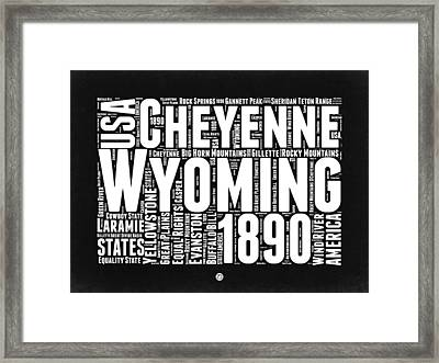 Wyoming Black And White Word Cloud Map Framed Print by Naxart Studio