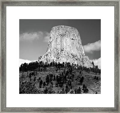 Wyoming Devils Tower National Monument With Climbers Bw Framed Print by Thomas Woolworth