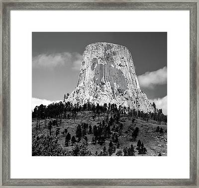 Wyoming Devils Tower National Monument With Cowboy Bw Framed Print by Thomas Woolworth