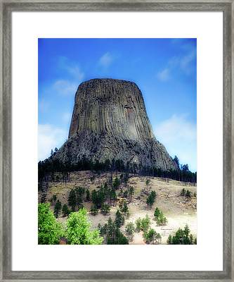 Wyoming Devils Tower With 8 Climbers August 7th 12 36pm 2016 With Inserts Framed Print by Thomas Woolworth